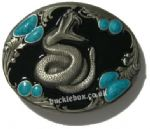 RATTLE SNAKE - S.W. STONES BELT BUCKLE + display stand